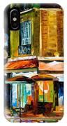 Paris-recruitement Cafe - Palette Knife Oil Painting On Canvas By Leonid Afremov IPhone Case