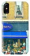 Paris Style French Bistro Art Sidewalk Cafe Terrace  Antique Shop C Spandau Montreal City Paintings IPhone Case
