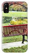 Park Bench By The Pond IPhone Case