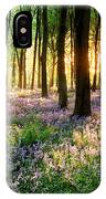 Sunrise Path Through Bluebell Woods IPhone Case