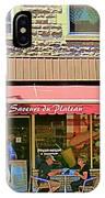 Patisserie Les Saveurs Du Plateau Pique Nique Et Emporter Montreal Cafe Scene Art By Carole Spandau  IPhone Case