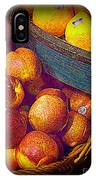 Peaches And Citrus With Blue Wooden Basket IPhone Case