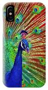 Peacock In Front Of Red Barn IPhone Case