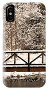 Pedestrian Bridge In The Snow IPhone Case