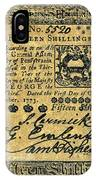 Penn. Banknote, 1773 IPhone Case