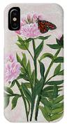 Peonies And Monarch Butterfly IPhone Case