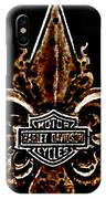 Perforated Brown Fleurs De Lys With Harley Davidson Logo  IPhone Case