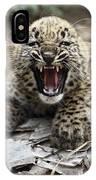 Persian Leopard Cub Snarling IPhone Case