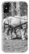 Photograph Of Horses Pulling Logs In Maine Forest IPhone Case