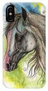 Piber Polish Arabian Horse Watercolor Painting 3 IPhone Case