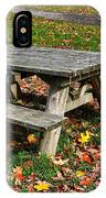 Picnic Table In Autumn IPhone Case