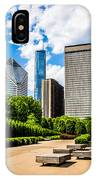Picture Of Chicago Skyline With Millennium Park Trees IPhone Case