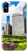 Picture Of Lurie Garden Flowers With Chicago Skyline IPhone Case