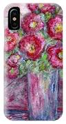 Pink Beauties In A Blue Crystal Vase IPhone Case