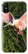 Pink Bird Flying - Spoonbill Coming In For A Landing IPhone Case