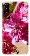 Bee Flying Pink Blossoms 031015a IPhone Case