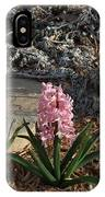 Pink Flower's With A Lime Stone Rock IPhone Case