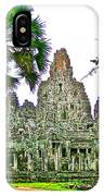 Pink Tower In The Bayon In Angkor Thom In Angkor Wat Archeological Park Near Siem Reap-cambodia IPhone Case