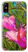 Pink Tropical Flower With Honeybee - Vertical IPhone Case