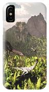 Plateosaurus And Ceolophysis Dinosaurs IPhone Case