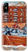 Pointe St. Charles Hockey Rink Southwest Montreal Winter City Scenes Paintings IPhone Case