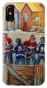 Pointe St. Charles Hockey Rinks Near Row Houses Montreal Winter City Scenes IPhone Case