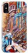 Pointe St.charles Hockey Game Near Winding Staircases Montreal Winter City Scenes IPhone Case