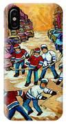 Pointe St.charles Hockey Game Winter Street Scenes Paintings IPhone Case
