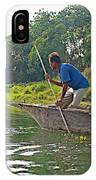 Poling A Dugout Canoe In The Rapti River In Chitwan National Park-nepal IPhone Case