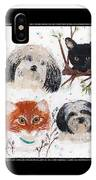 Polka Dot Family Pets With Borders - Whimsical Art IPhone Case