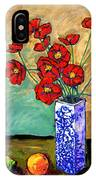 Poppies In A Vase With Fruit IPhone Case