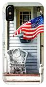 Porch With Flag And Wicker Chair IPhone Case