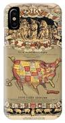 Pork Map Of The United States From 1876 IPhone Case