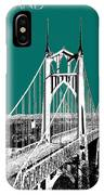 Portland Skyline St. Johns Bridge - Sea Green IPhone Case
