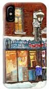 Poutine Lafleur Rue Wellington Verdun Art Montreal Paintings Cold Winter Walk City Shops Cspandau   IPhone Case
