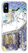 Psychedelic English Village Church In Winter IPhone Case
