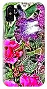 Purple And White Irises And Pink Flowers IPhone Case