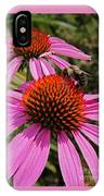 Purple Cone Flower With Bee IPhone Case