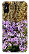 Purple Flowers At Base Of Tree IPhone Case