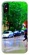 Rainy Days And Mondays Girl Running With The Blue Umbrella Montreal Art City Scenes Carole Spandau IPhone Case