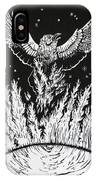 Raven Stealing Fire From The Sun - Woodcut Illustration For Corvidae IPhone Case