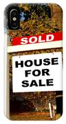 Real Estate Sold And House For Sale Sign On Post IPhone Case