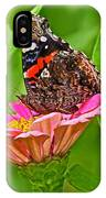 Red Admiral Butterfly And Zinnia Flower IPhone Case
