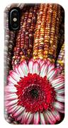 Red And White Mum With Indian Corn IPhone Case