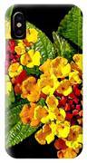 Red And Yellow Lantana Flowers With Green Leaves IPhone Case