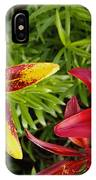 Red And Yellow Lilly Flowers In The Garden IPhone Case