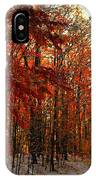 Red Autumn Road In Snow IPhone Case