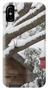 Red Barn Birdhouse On Tree In Winter IPhone Case
