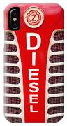 Red Bumper On Vehicle Labeled Diesel IPhone Case