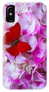Red Butterfly On Hydrangea IPhone Case